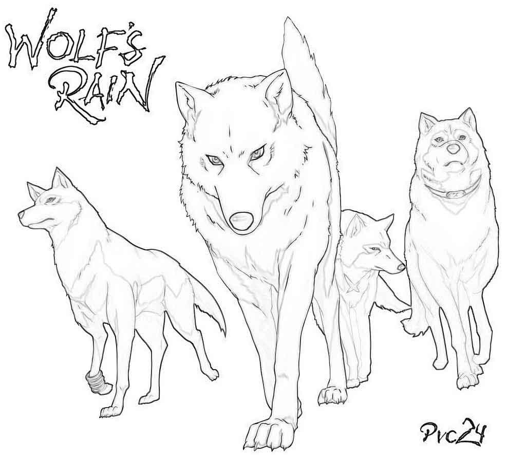 Распечатать волков раскраски