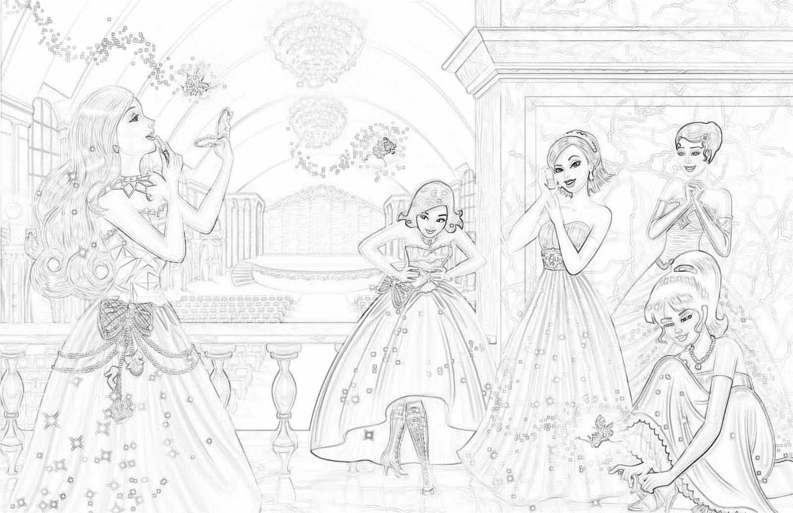 Раскраска Принцесса Барби | Детские раскраски, распечатать ...