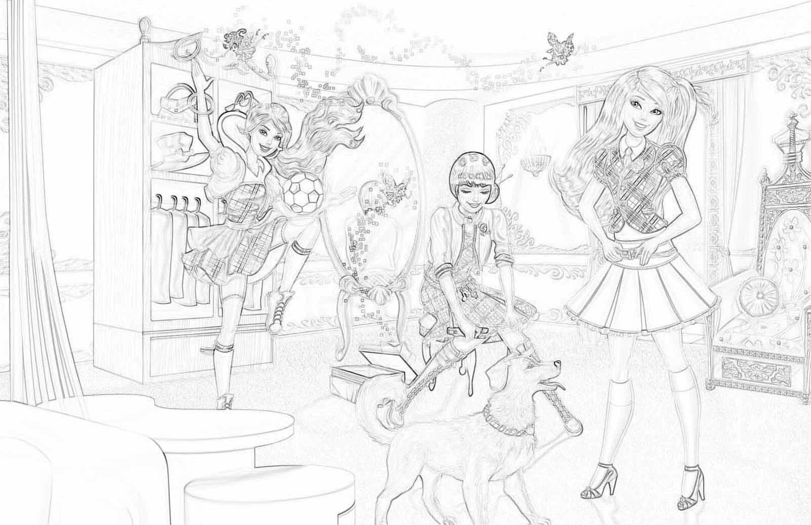 Раскраски Барби академия принцесс   Детские раскраски ...