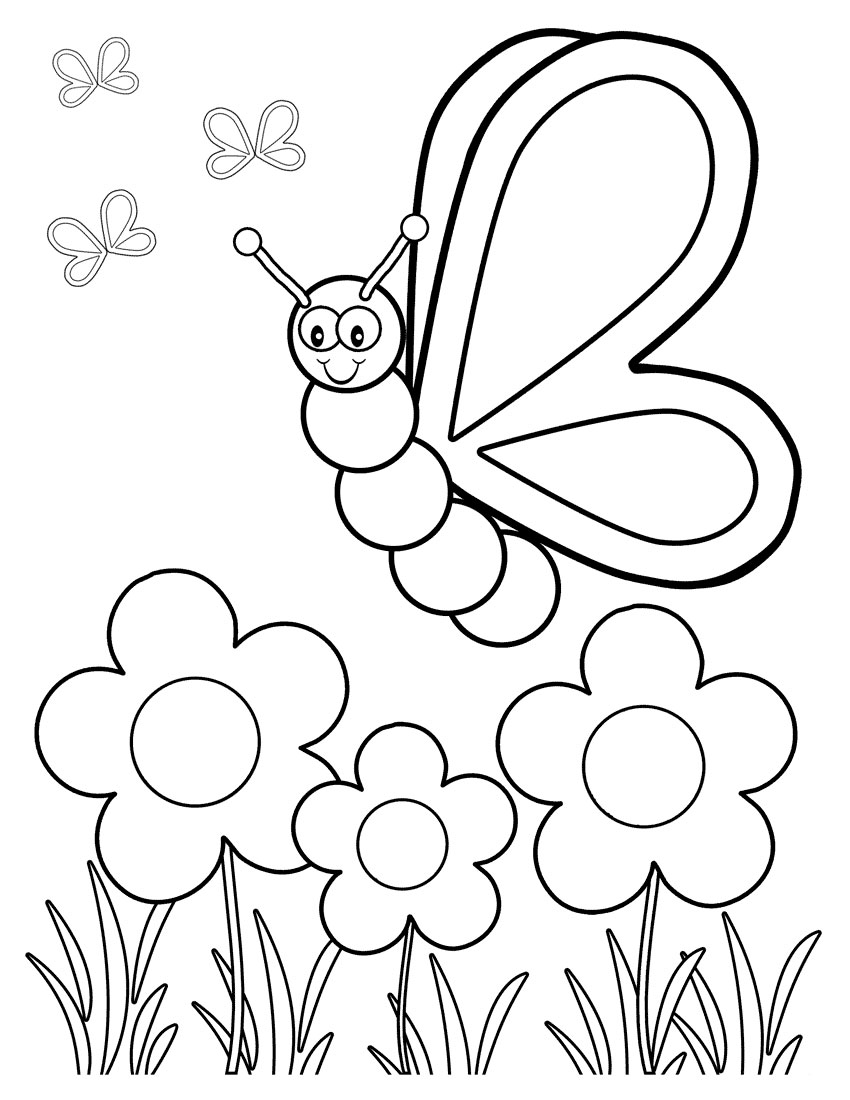 Картинки бабочки и цветы раскраски