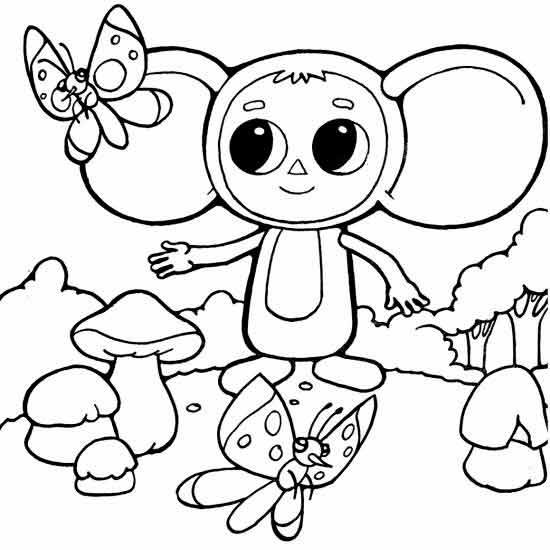 Раскраска Чебурашка | Детские раскраски, распечатать, скачать