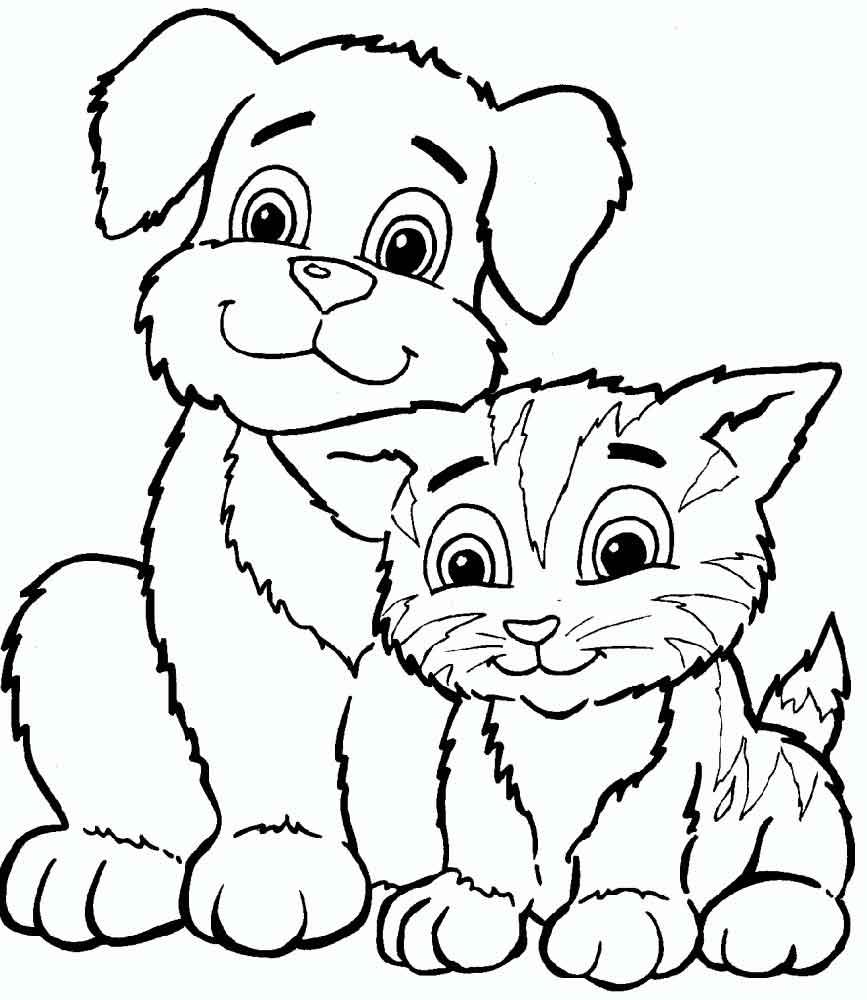 раскраски кошек и собак детские раскраски распечатать