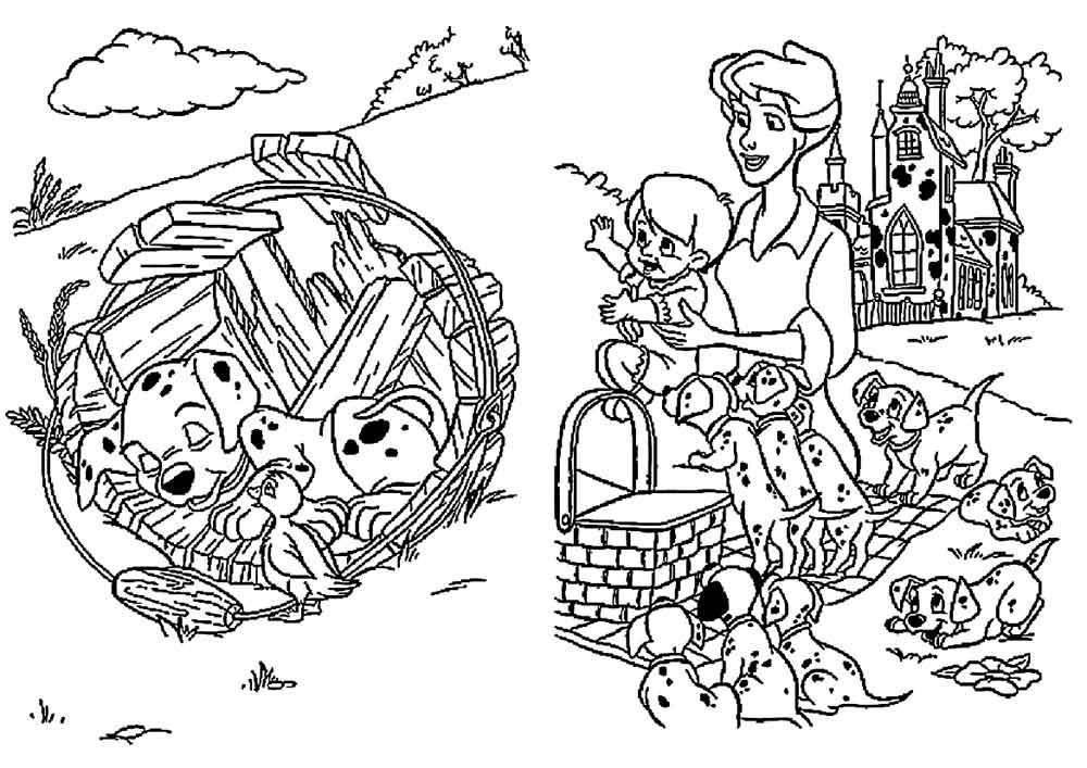 раскраска долматинцы детские раскраски распечатать скачать