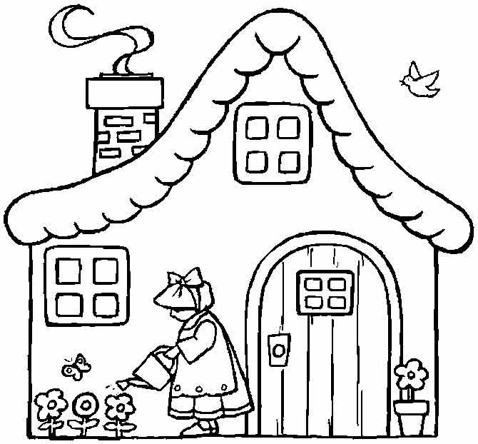 Картинки дома для детей раскраска
