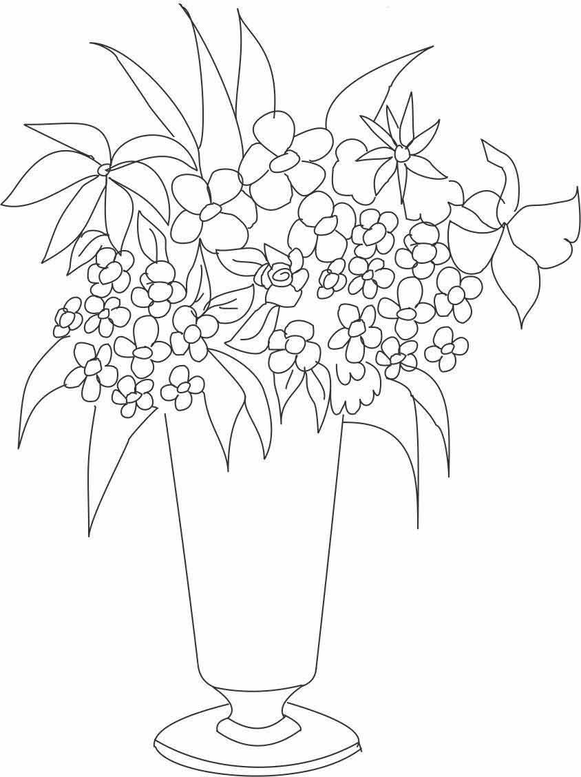 Распечатать раскраску букеты цветов