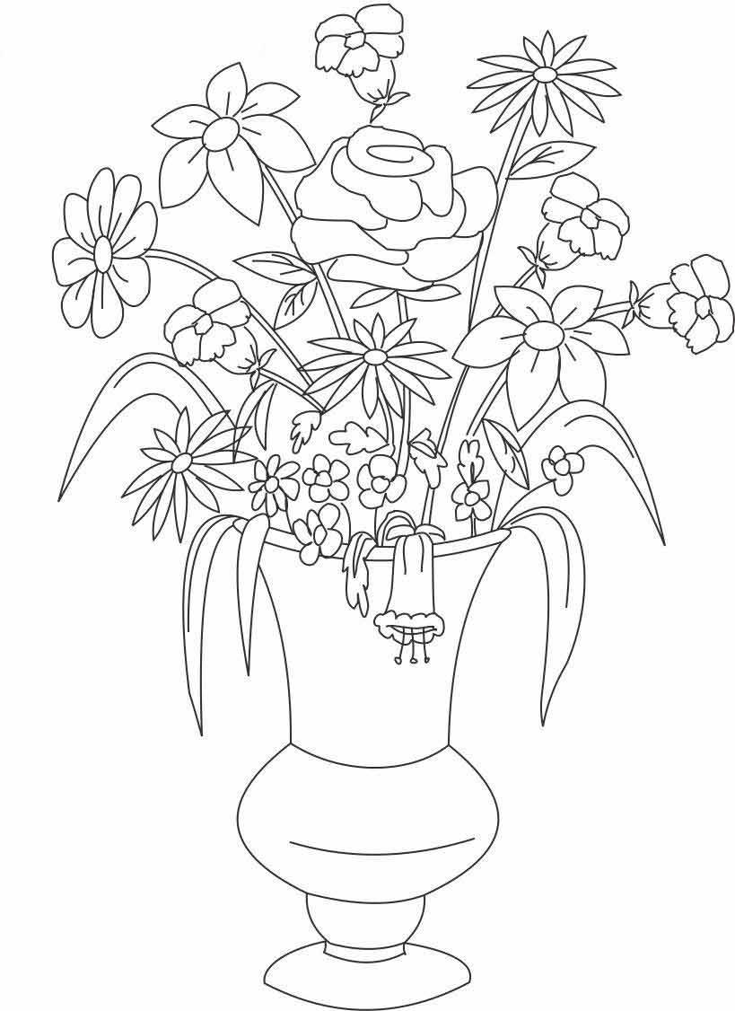 Раскраски цветы в вазе | Детские раскраски, распечатать ...