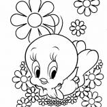 цыпленок Твитти и цветок