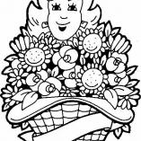 раскраска девушка с цветами