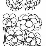 раскраска цветов и пчел