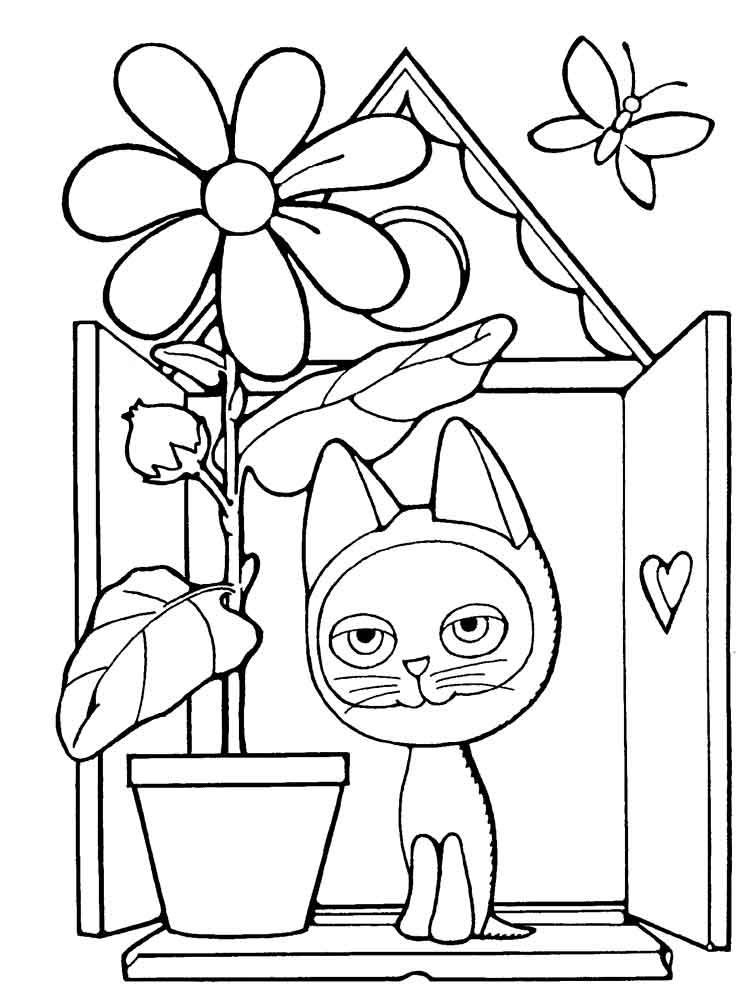 Раскраска котенка и собачки