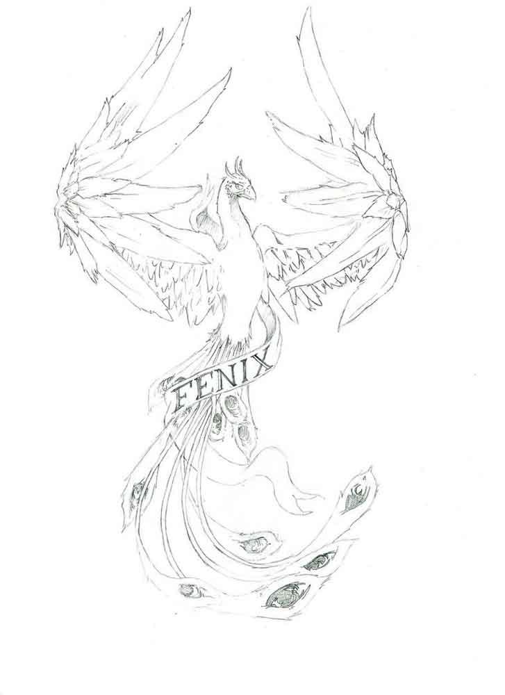 Картинка сказочной птицы для раскраски