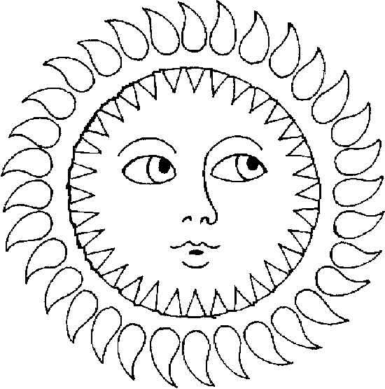 Раскраски солнышко детское  Детские раскраски