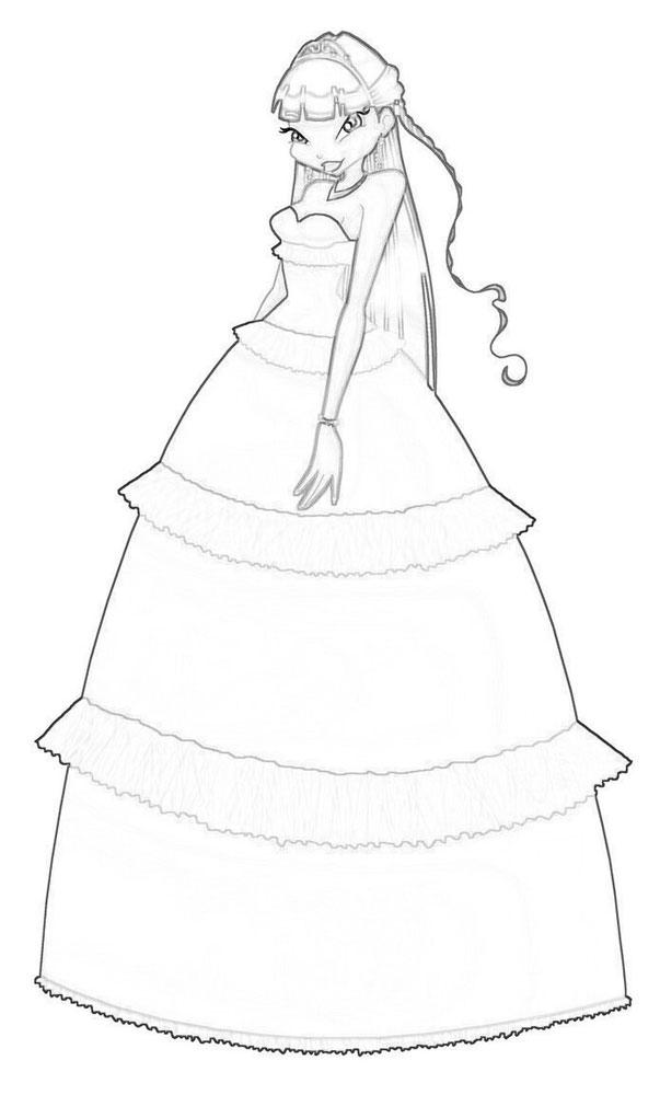 Барби в красивых платьях раскраски