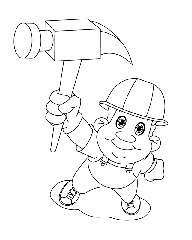 Construction worker coloring page  Coloringcrewcom